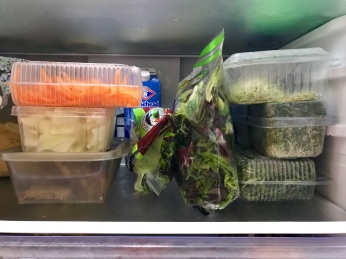 Neatly stored in recycled salad boxes in the fridge!