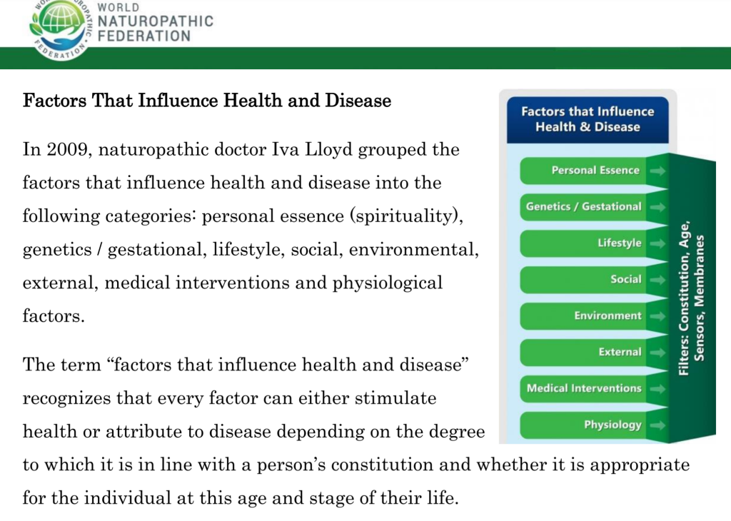 "WORLD  NATUROPATHIC  FEDERATION  Factors That Influence Health and Disease  In 2009, naturopathic doctor Iva Lloyd grouped the  factors that influence health and disease into the  following categories: personal essence (spirituality),  genetics / gestational, lifestyle, social, environmental,  external, medical interventions and physiological  factors.  The term ""factors that influence health and disease""  recognizes that every factor can either stimulate  health or attribute to disease depending on the degree  Factors that Influence  Health & Disease  Personal Essence  L ifestyle  Social  Environment  External  Medical Interventions  Physiology  to which it is in line with a person's constitution and whether it is appropriate  for the individual at this age and stage of their life."